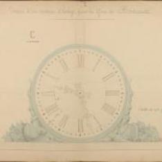 Gare de Bordeaux. Installation d'horloges dans la halle métallique.